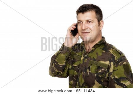 Smiling Army Veteran On The Phone