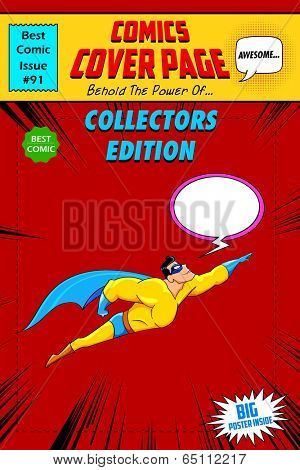illustration of comic book cover in pop art style