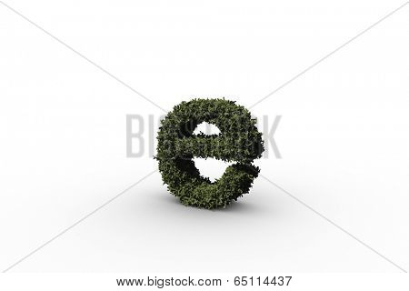 Lower case letter e made of leaves on white background