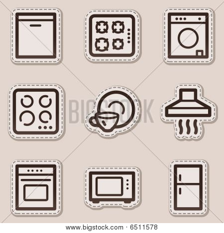 Home appliances web icons, brown contour sticker series