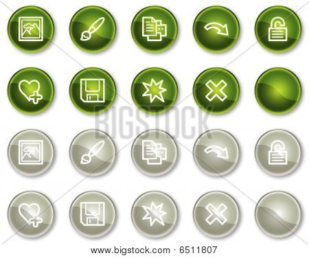 Image viewer web icons set 2, green and grey circle buttons series