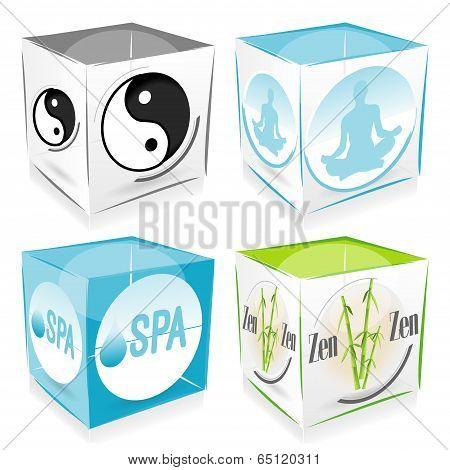 set of 4 cube zen and welness