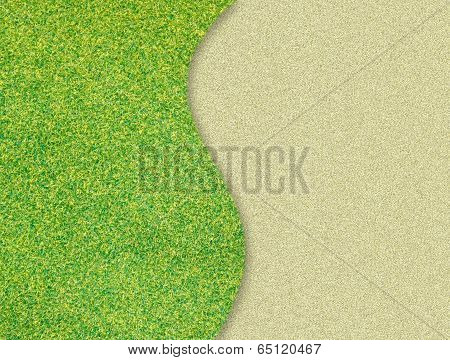 Green Grass Curve On Sand Background