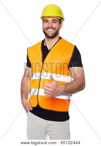 Portrait Of Smiling Worker In A Reflective Vest