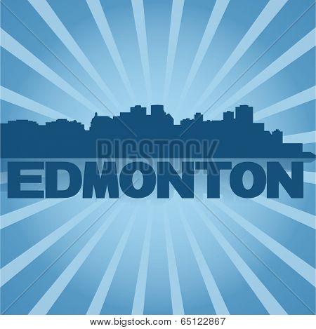 Edmonton skyline reflected with blue sunburst vector illustration