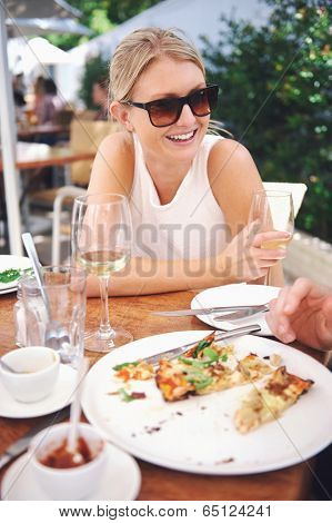 Healthy restaurant lunch for vacation couple in summer