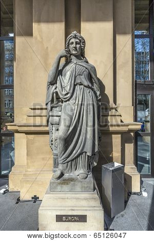 FRANKFURT, GERMANY - MAY 7, 2013: statue at frankfurt stock exchange that symbolizes the European continent