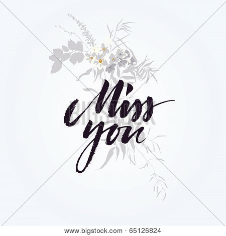 Hand drawn miss you card with flower bouquet