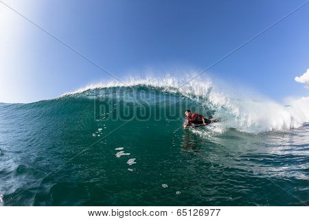 Surfing Body-Boarder Wave Water
