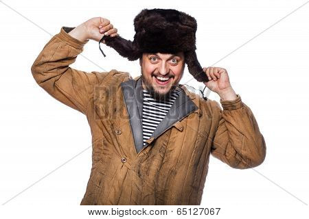 Happy crazy russian man laughing