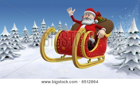 Santa Flying Across A Snow Covered Landscape