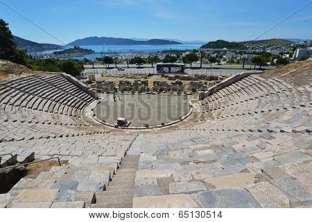 BODRUM, TURKEY - APRIL 13, 2014: Panoramic view of the city from the amphitheater. Built in II century, it is a good example of a classical Greek theatre, with an estimated seating capacity of 13,000