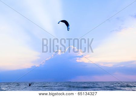Kite-surfing At The Sunset