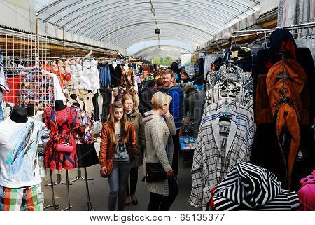 Gariunai Bazaar Market In The Vilnius City.