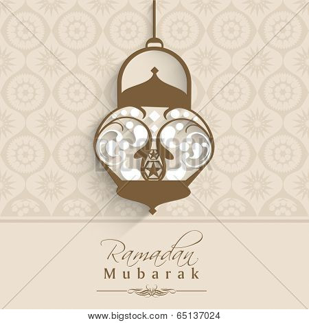 Arabic lamp or lantern hanging on seamless brown background with floral pattern, beautiful greeting card design on occasion of muslim community holy month Ramadan Mubarak.