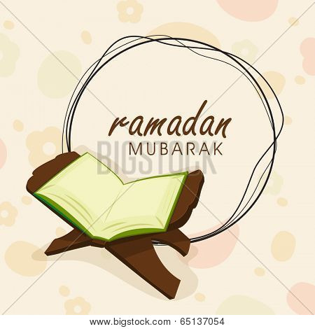 Open islamic holy book Quran Shareef and stylish text Ramadan Mubarak on colourful abstract background.