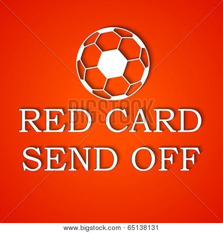 Foul Red Card with soccer ball and stylish text on red background.