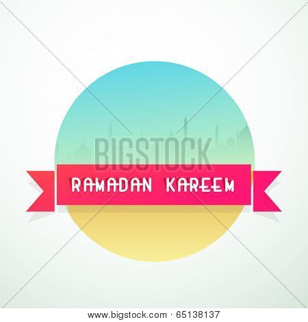 Stylish colorful sticker, tag or label design with silhouette of mosque and text Ramadan Kareem on pink ribbon.