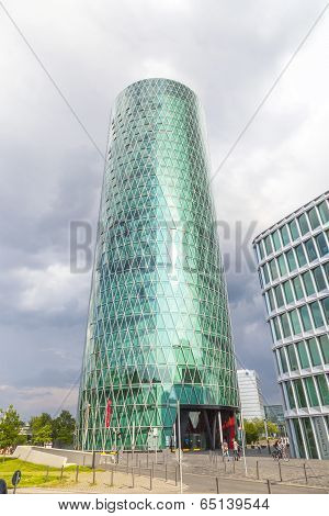 Westhafen Tower In The Harbor Area In Frankfurt