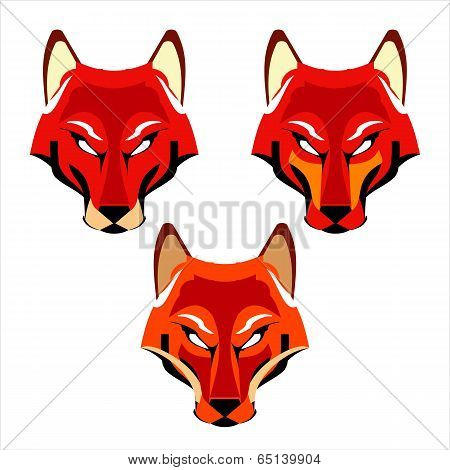 A Set Of Three Different Fox Heads.eps