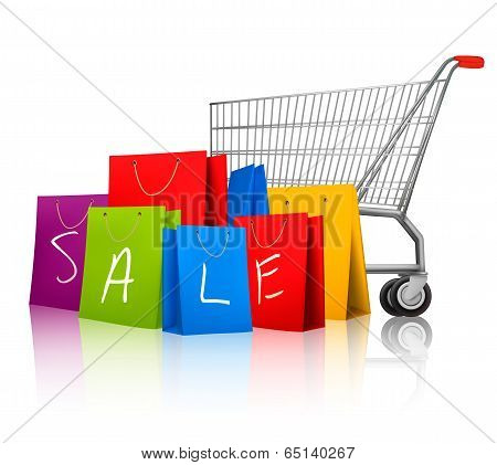 Background With Colorful Shopping Bags And Shopping Cart. Discount Concept. Vector Illustration.