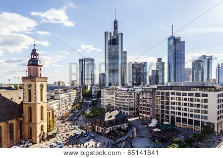 Skyline Of Frankfurt At Hauptwache