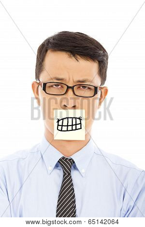 Businessman Feel Helpless And Angry Expression On Sticker