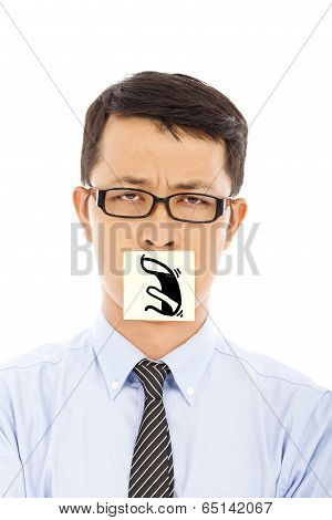 Businessman With Helpless And Blame Expression On Sticker