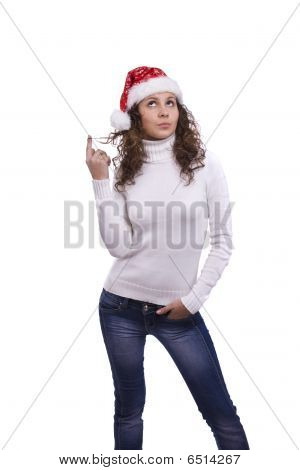 Santa Girl In Red Christmas Cap Is Thinking About Something