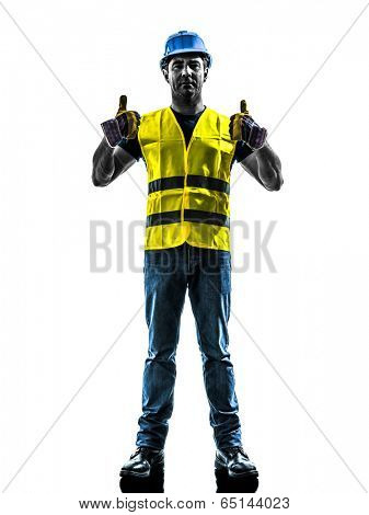 one  construction worker signaling up silhouette isolated in white background