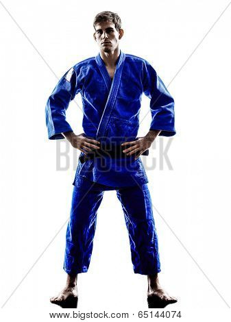 one judoka fighter man in silhouette on white background