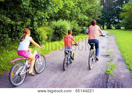 Family on bicycles in the spring Park