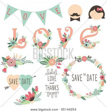 Set of wedding flora invitation design elements
