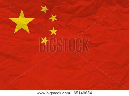 China Flag Crumpled Paper