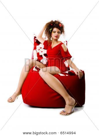 Elegance Women On The Pouffes