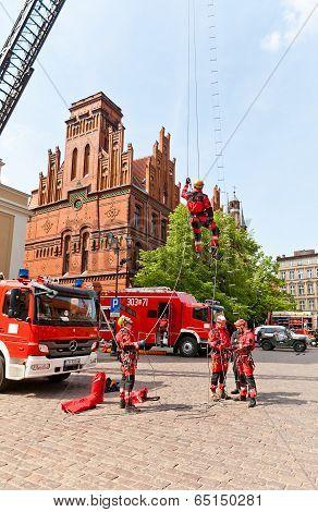Firemen Training In Torun, Poland