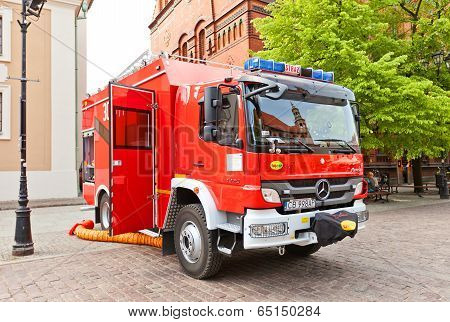 Fire-fighting Vehicle Mercedes In Torun, Poland