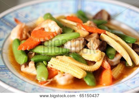 Sauteed Vegetables With Shrimp.