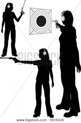 Silhouette Woman Shoots Target Pistol