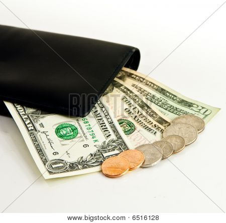 Us Currency And Black Wallet
