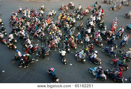 Amazing Trafic Of Asia City In Rush Hour