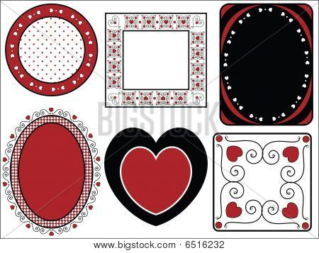 Six Vector Valentine Frames or Tags With Gingham Trim