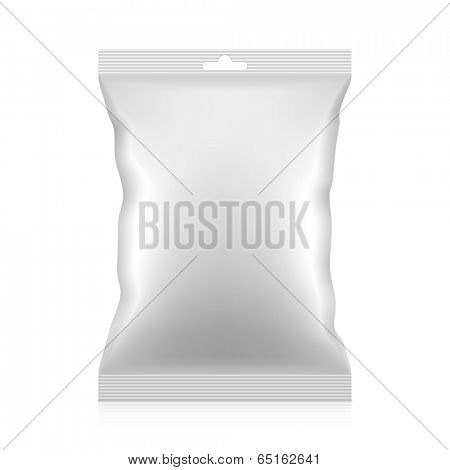 White blank snacks food foil packaging bag with hang tab. Vector.