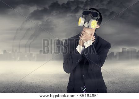 Businessman Wearing A Gas Mask