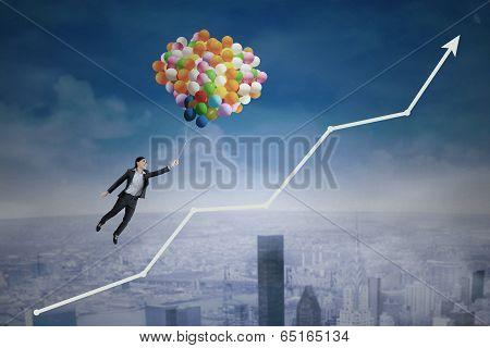 Businesswoman Flying Over Upward Arrow