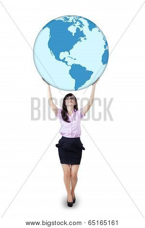 Businesswoman Is Holding World Globe 2