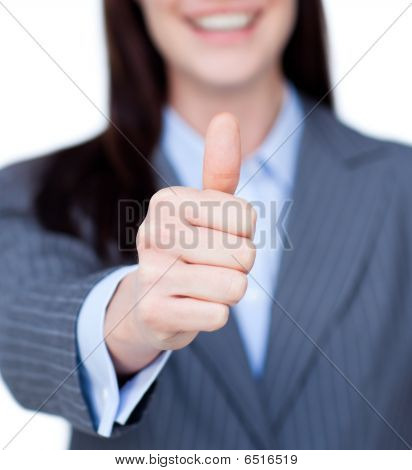 Close-up Of A Businesswoman With Thumb Up