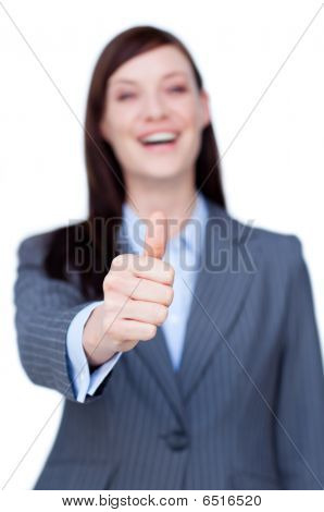 Laughing Businesswoman With Thumb Up