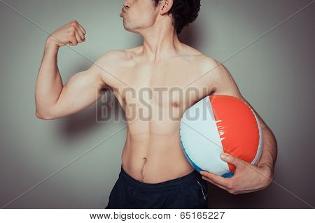 Athletic Young Man With Beach Ball