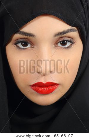 Arab Saudi Emirates Woman With Plump Red Lips Make Up